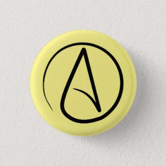 Badge Rond 2,50 Cm Symbole athée : noir sur jaune-clair