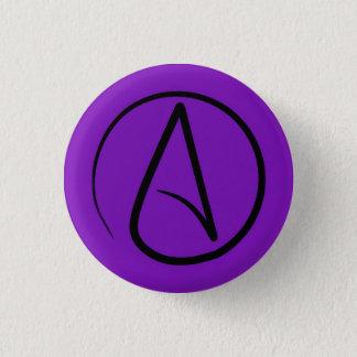 Badge Rond 2,50 Cm Symbole athée : noir sur le pourpre