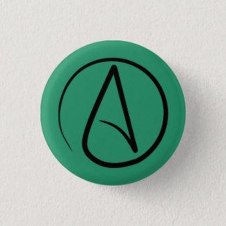 Badge Rond 2,50 Cm Symbole athée : noir sur le vert