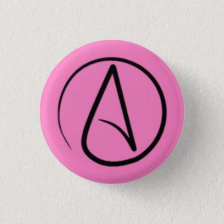 Badge Rond 2,50 Cm Symbole athée : noir sur rose-clair