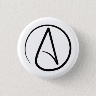 Badge Rond 2,50 Cm Symbole d'athéisme : noir sur le blanc