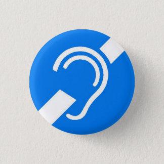 Badge Rond 2,50 Cm Symbole international pour le blanc sourd sur le