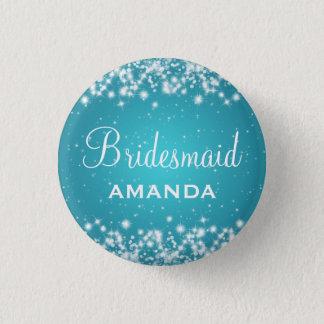 Badge Rond 2,50 Cm Turquoise élégante d'étincelle d'hiver de
