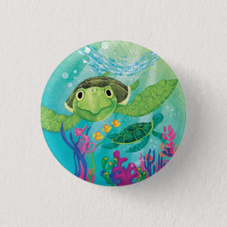 Badge Rond 2,50 Cm Une délivrance de tortue de mer