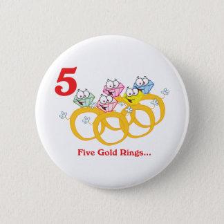 Badge Rond 5 Cm 12 jours cinq anneaux d'or