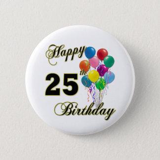 Badge Rond 5 Cm 25èmes cadeaux d'anniversaire heureux avec des