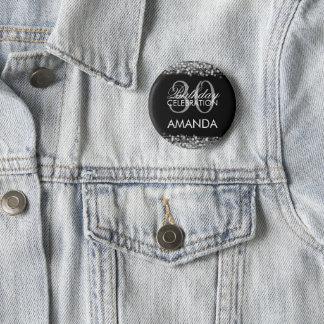 Badge Rond 5 Cm 30ème argent élégant d'étincelles de fête