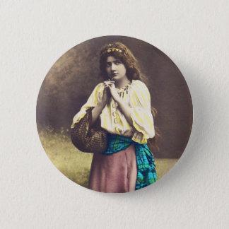 Badge Rond 5 Cm Acteur Romance de carte postale française vintage