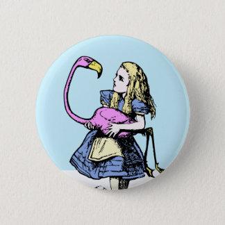Badge Rond 5 Cm Alice classique dans le flamant du bouton #2 du