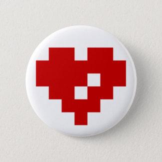 Badge Rond 5 Cm Amour de bit du coeur 8 de pixel