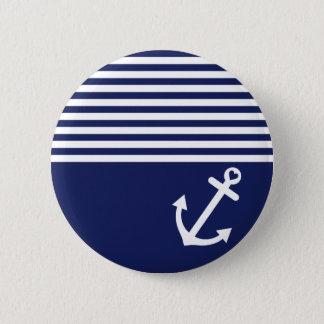 Badge Rond 5 Cm Ancre d'amour de bleu marine nautique