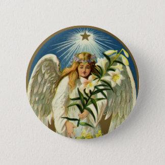 Badge Rond 5 Cm Ange vintage de Pâques, agneau, fleur de lis,