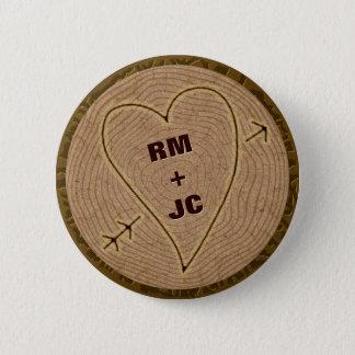 Badge Rond 5 Cm Anneaux d'arbre en bois découpés par coeur