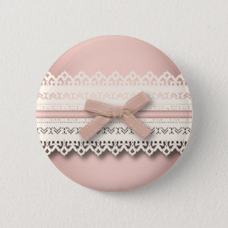 Badge Rond 5 Cm Arc blanc chic girly de rose de dentelle de