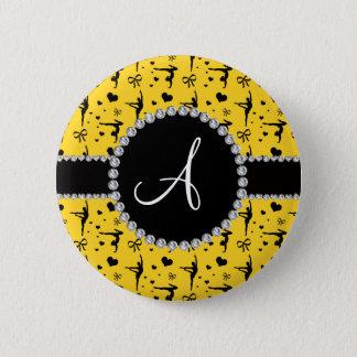 Badge Rond 5 Cm Arcs jaunes de coeurs de gymnastique de monogramme