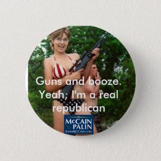 Badge Rond 5 Cm Armes à feu et boissons alcoolisées