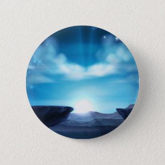 Badge Rond 5 Cm Arrière - plan de lever de soleil de montagne de