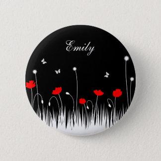 Badge Rond 5 Cm Arrière - plan noir de pavots rouges