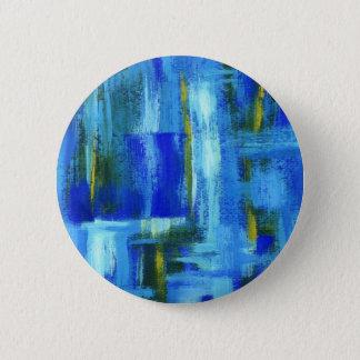 Badge Rond 5 Cm Art abstrait peignant des traçages bleus d'or vert