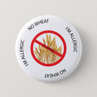 Badge Rond 5 Cm Aucun bouton d'alerte d'allergie de blé