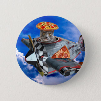 Badge Rond 5 Cm Avion de chat - chat de vol - chat pilote