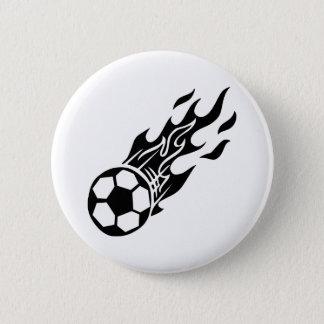 Badge Rond 5 Cm Ballon de football de flamme