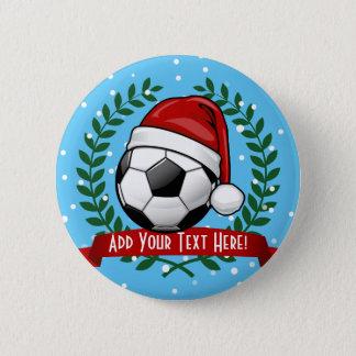 Badge Rond 5 Cm Ballon de football portant Noël de casquette de