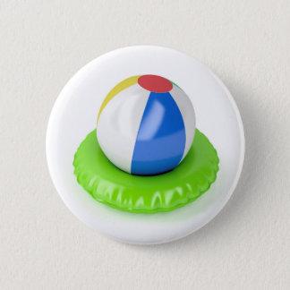 Badge Rond 5 Cm Ballon de plage et anneau de bain