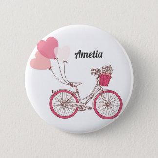 Badge Rond 5 Cm Ballons roses de bicyclette et de coeur