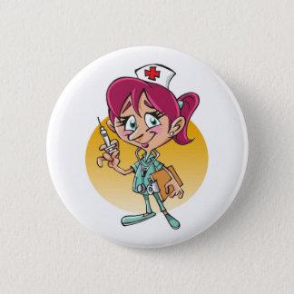 Badge Rond 5 Cm Bande dessinée drôle d'infirmière personnalisée