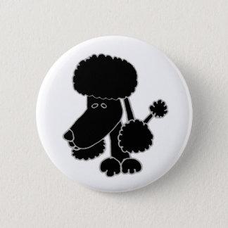 Badge Rond 5 Cm Bande dessinée noire drôle de chiot de caniche