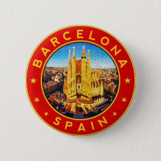 Badge Rond 5 Cm Barcelone, Spain, circle, red