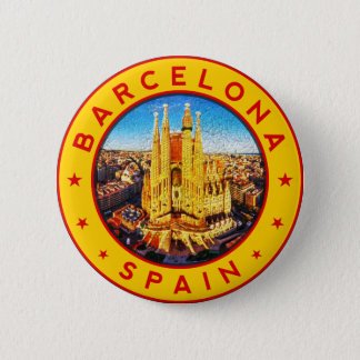 Badge Rond 5 Cm Barcelone, Spain, circle, yellow