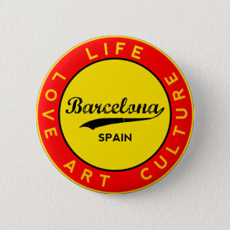 Badge Rond 5 Cm Barcelone, Spain, red circle, art
