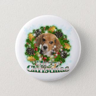 Badge Rond 5 Cm Beagle de Joyeux Noël