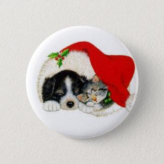 Badge Rond 5 Cm beaux chat et chien