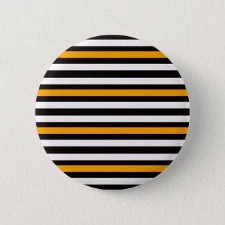 Badge Rond 5 Cm Blanc noir orange horizontal de rayures