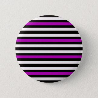 Badge Rond 5 Cm Blanc noir pourpre horizontal de rayures