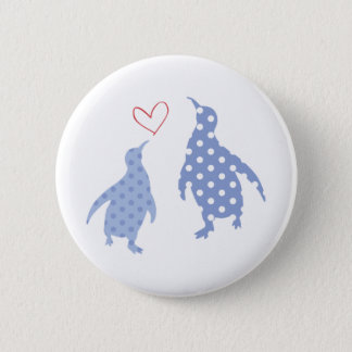 Badge Rond 5 Cm bleu de bouton de pingouin