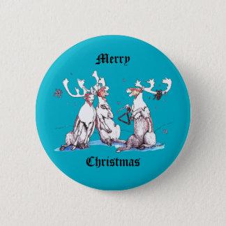 Badge Rond 5 Cm Bleu drôle de faune de caribou de chant de Noël