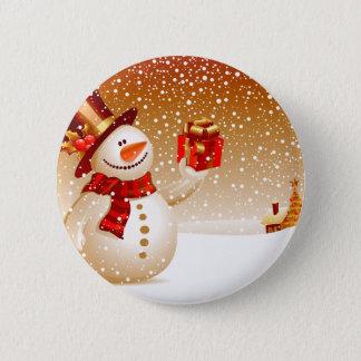 Badge Rond 5 Cm Bonhomme de neige et étoiles d'or