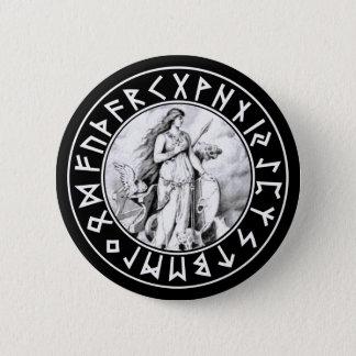 Badge Rond 5 Cm Bouclier de Freya Rune sur le noir