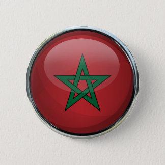 Badge Rond 5 Cm Boule en verre de drapeau du Maroc