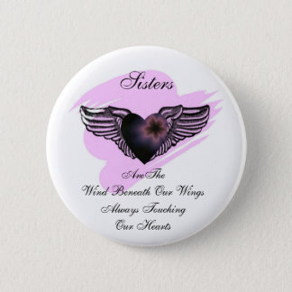 Badge Rond 5 Cm Bouton à ailes de soeurs de coeur