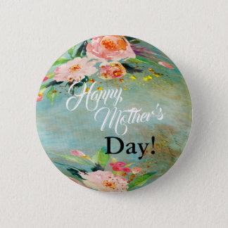 Badge Rond 5 Cm Bouton d'AQUARELLE du jour de mère
