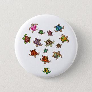 Badge Rond 5 Cm Bouton de coeur de tortue d'arc-en-ciel