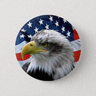 Badge Rond 5 Cm Bouton de drapeau américain d'Eagle chauve