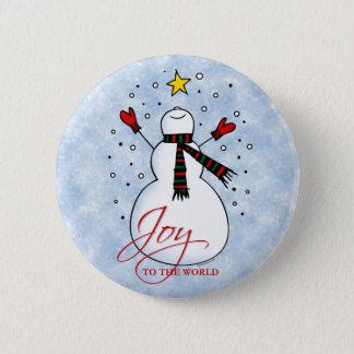 Badge Rond 5 Cm Bouton de joie de bonhomme de neige