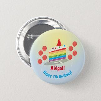 Badge Rond 5 Cm Bouton de l'anniversaire | de gâteau d'arc-en-ciel