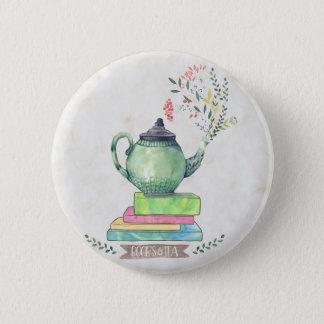 Badge Rond 5 Cm Bouton de livres et de thé
